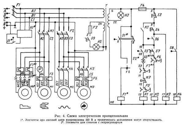 Схема электрическая токарно-винторезного станка 06К20, 06К20М, 06К20Г, 06К20Ф1