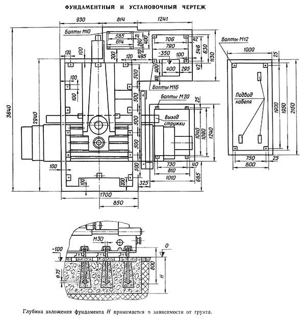 65А80 Установочный чертеж бесконсольного фрезерного станка